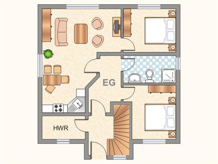 Der Grundriss der Wohnung im EG