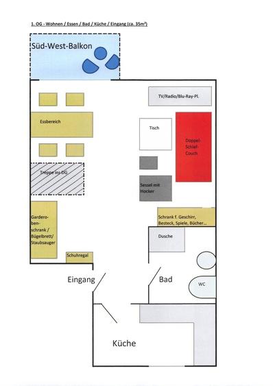 Grundriss 1. OG - Wohnen / Essen / Küche / Bad / Balkon