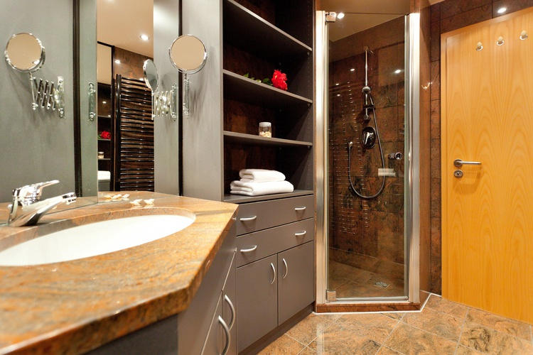exclusive luxury bathroom with walk-in shower