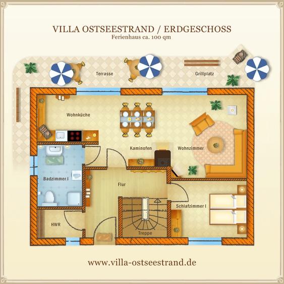 Ferienhaus Villa Ostseestrand - Grundriss Erdgeschoss