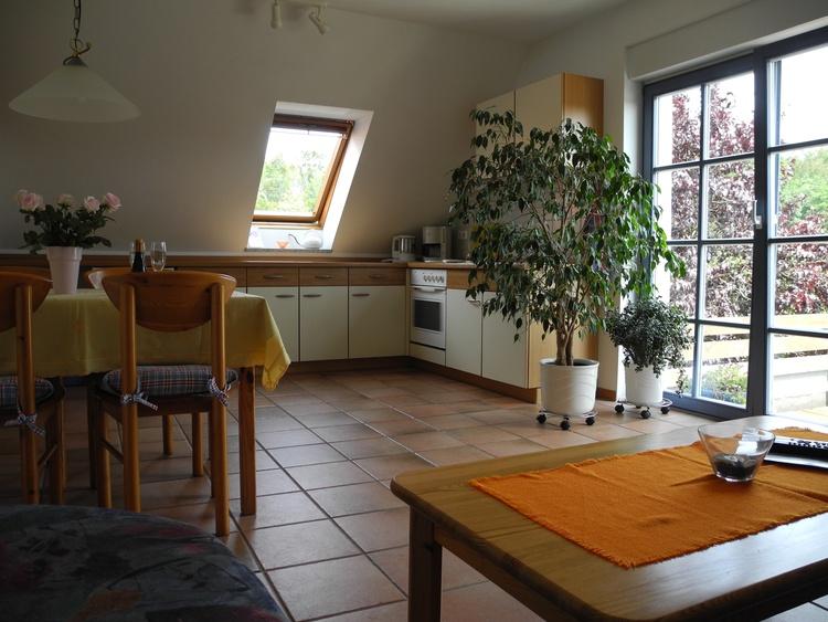 Wohnzimmer mit Blick auf den Küchenbereich