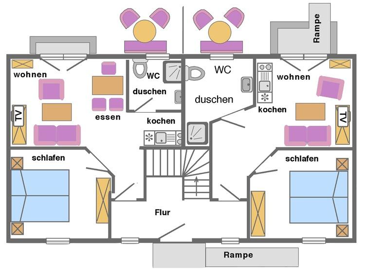 Ferienwohnungen - Grundriss EG