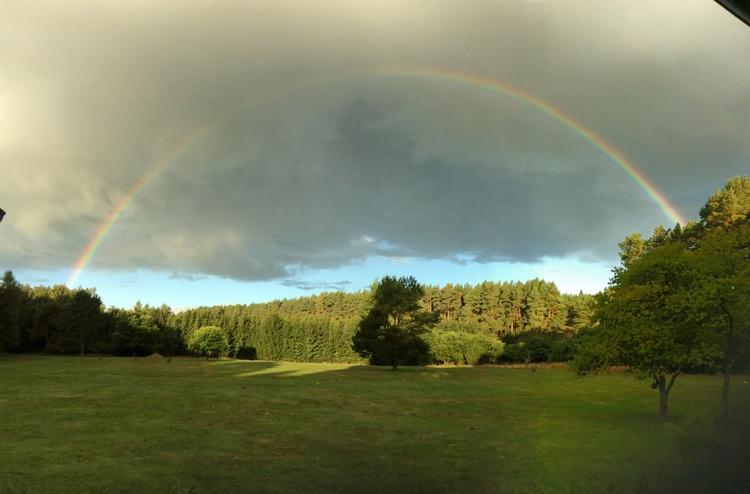 Regenbogen über der großen Wiese