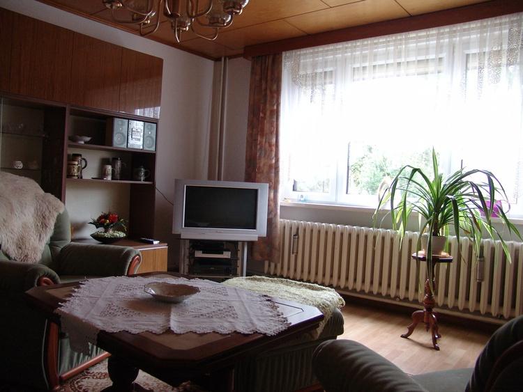 Im gemütlich eingerichteten Wohnzimmer mit Couch, Sat.-TV, DVD-Player, Video-Recorder u.a.