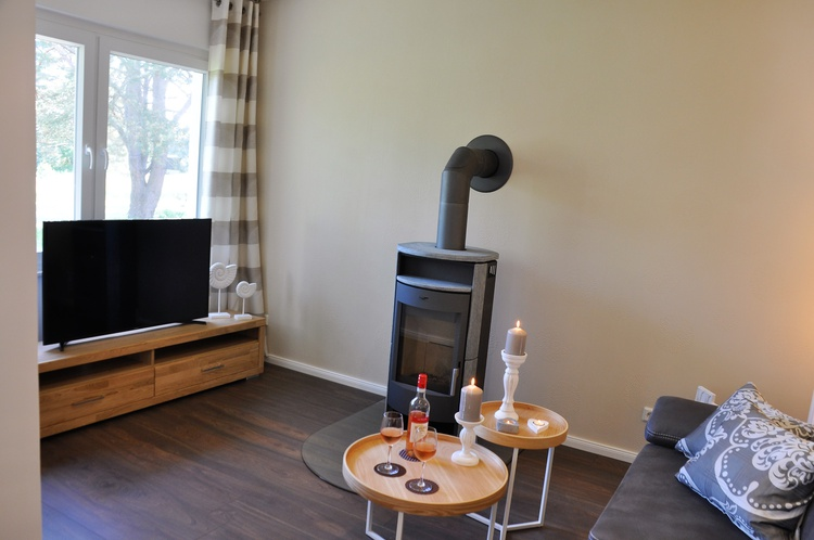 Wohnzimmer mit Kaminofen und Flat-TV
