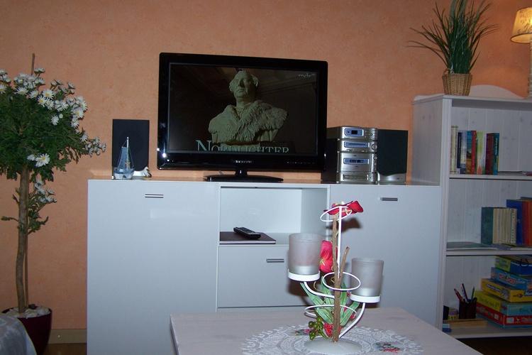 Wohnzimmer mit Flachbildschirm, Musikanlage,Regal mit Bücher und Spiele
