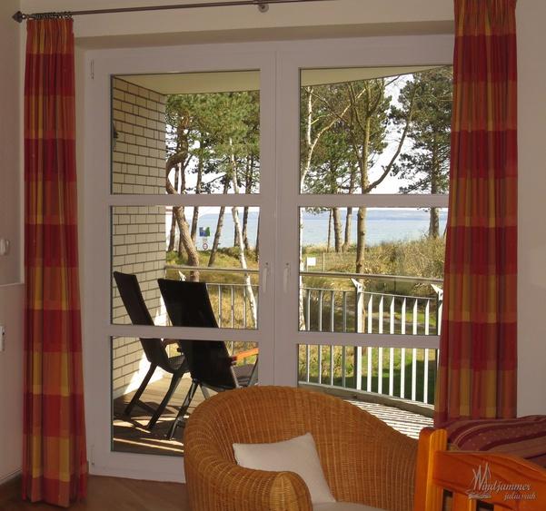 Blick vom Wohnzimmer der Fereiwohnung Windjammer auf die Ostsee