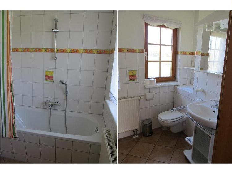 Die Badewanne mit Blick aus dem Fenster läd zum Entspannen ein