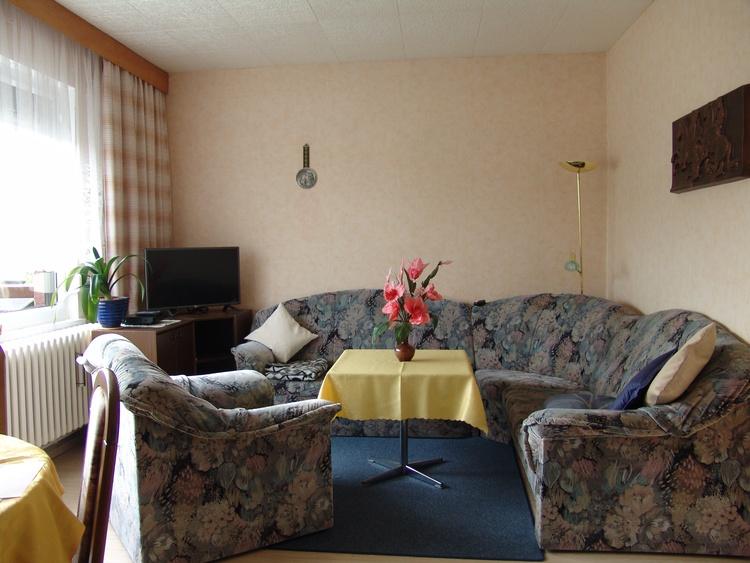 Das gemütlich eingerichtete Wohnzimmer mit Couch, Sat.-HDTV mit DAB-Empfang, DVD-/CD-Player.