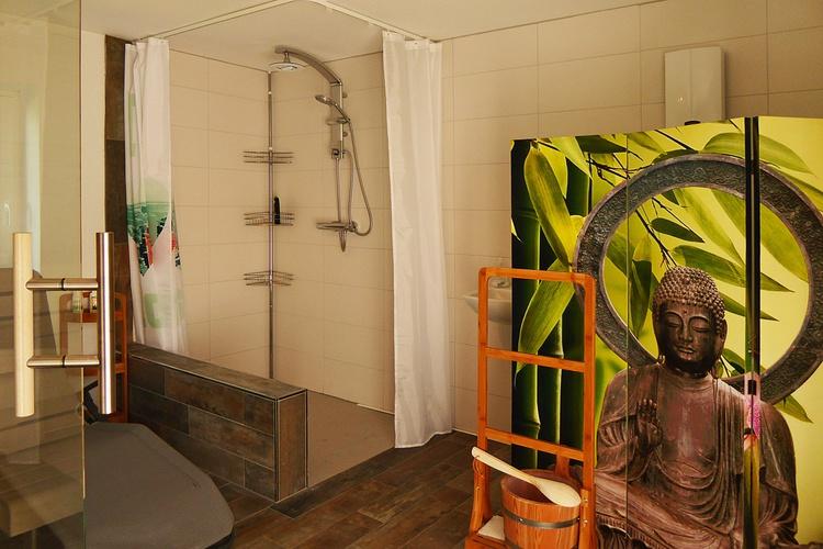 Sauna - Dusche (WC hinter Paravent)