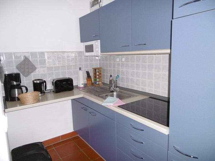 Die Küchennische mit Induktions-Kochfeld, Kühlschrank/Gefrierfach, Mikrowelle... ideal eingerichtet