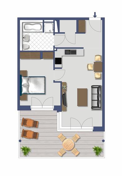 Grundriss 2-Zimmer-Ferienwohnung