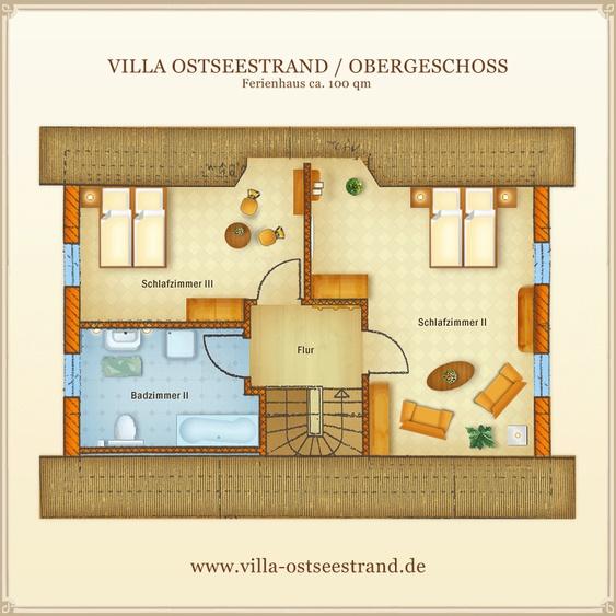 Ferienhaus Villa Ostseestrand - Grundriss Obergeschoss