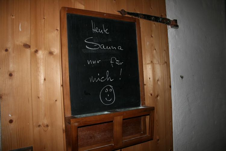 heute: Sauna!